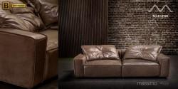 прямой диван из натуральной кожи Массимо