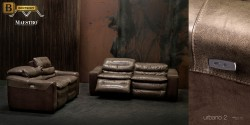 прямой кожаный диван Урбано с реклайнером купить