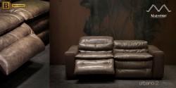 стильный кожаный диван с реклайнером Урбано