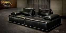 черный кожаный диван Метро купить