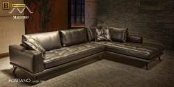 угловой модульный диван Позитано натуральная кожа