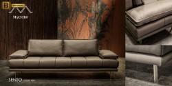 коричневый кожаный диван для гостинной