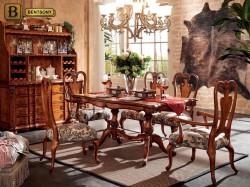 столовая Феникс в классическом стиле из массива дерева цвет орех