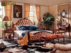 Дизайн спальни Феникс D в классическом стиле массив дерева, изголовье ткань