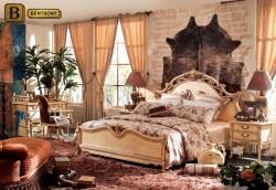 Классическая спальня Феникс С цвета слоновой кости с резными элементами