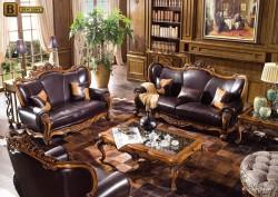 Гостиная Дакота М18 в классическом стиле из массива дерева обивка натуральная кожа цвет орех
