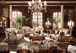Гостиная Дакота М18 в классическом стиле из массива дерева тканевая обивка  цвет орех