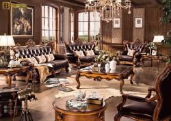 Классические гостиные Бенцони фотоДакота М18  из массива дерева обивка натуральная кожа  цвет орех