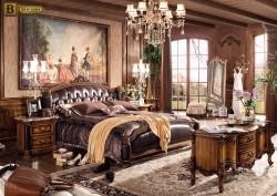 Дизайн спальни в классическом стиле Дакота М18 массив дерева натуральная кожа