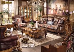 Классическая мебель Дакота М18 для гостиной натуральная кожа массив дерева ткань