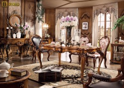 Столовая Дакота М18 в классическом стиле из массива дерева обивка натуральная кожа цвет орех прямоугольный обеденный стол