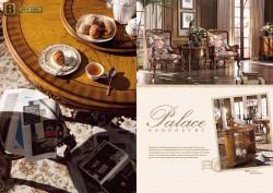 Столовая Дакота М18 в классическом стиле из массива дерева обивка натуральная кожа цвет орех круглый обеденный стол