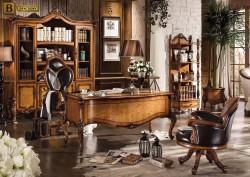 Классический кабинет Дакота М18 массив дерева натуральная кожа цвет орех