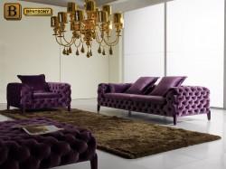 Гостиная Скиллачи стиль Арт-Деко велюр фиолетовый бархат капитоне