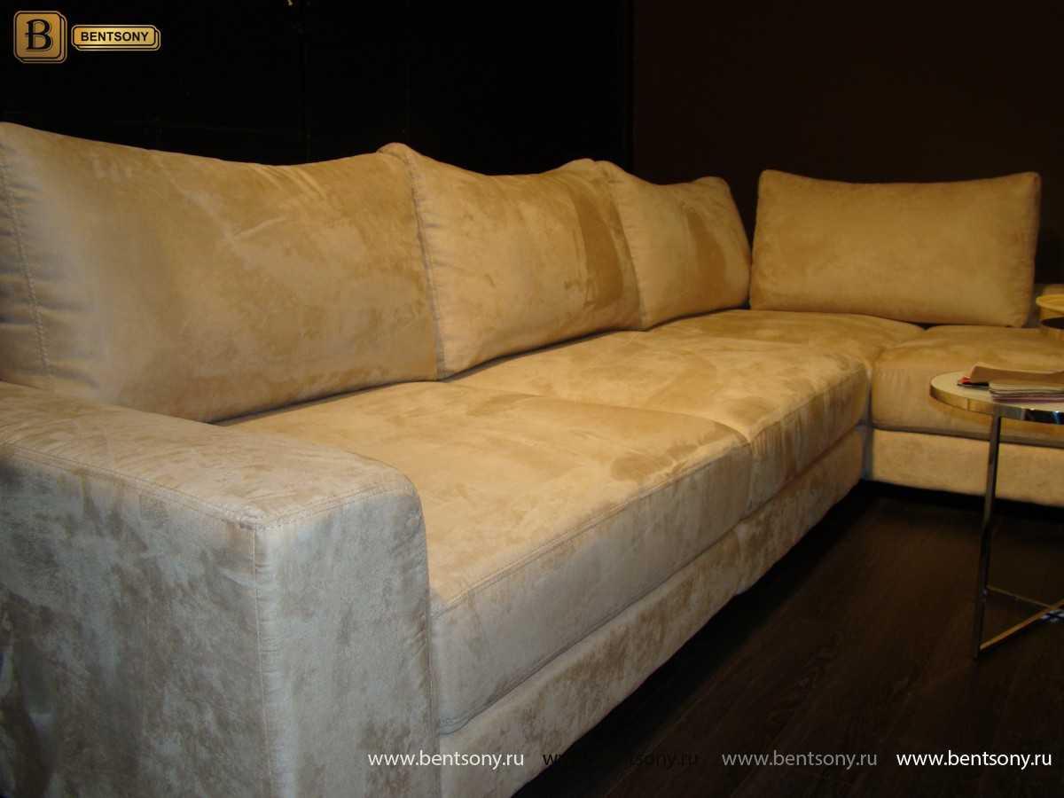 угловой диван Луиджи бежевая замша