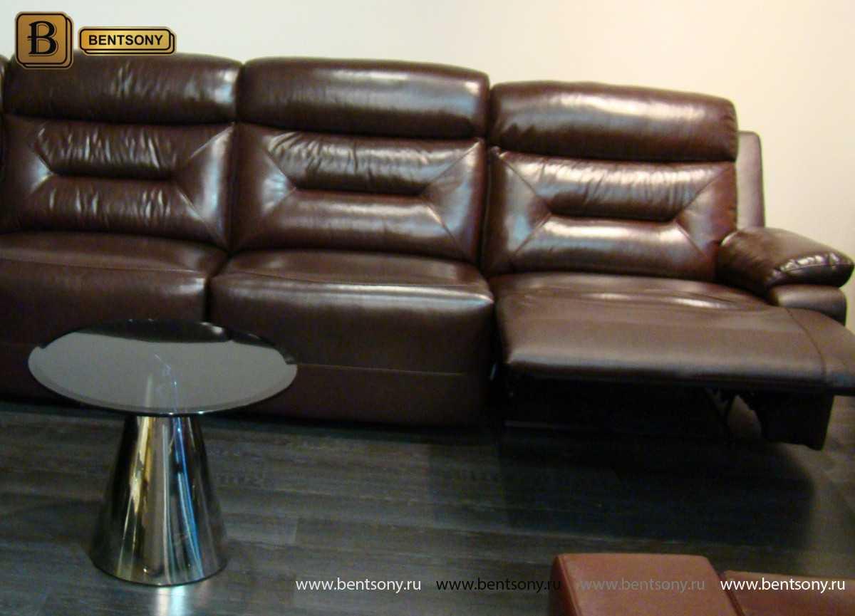 купить коричневый кожаный диван Амелия