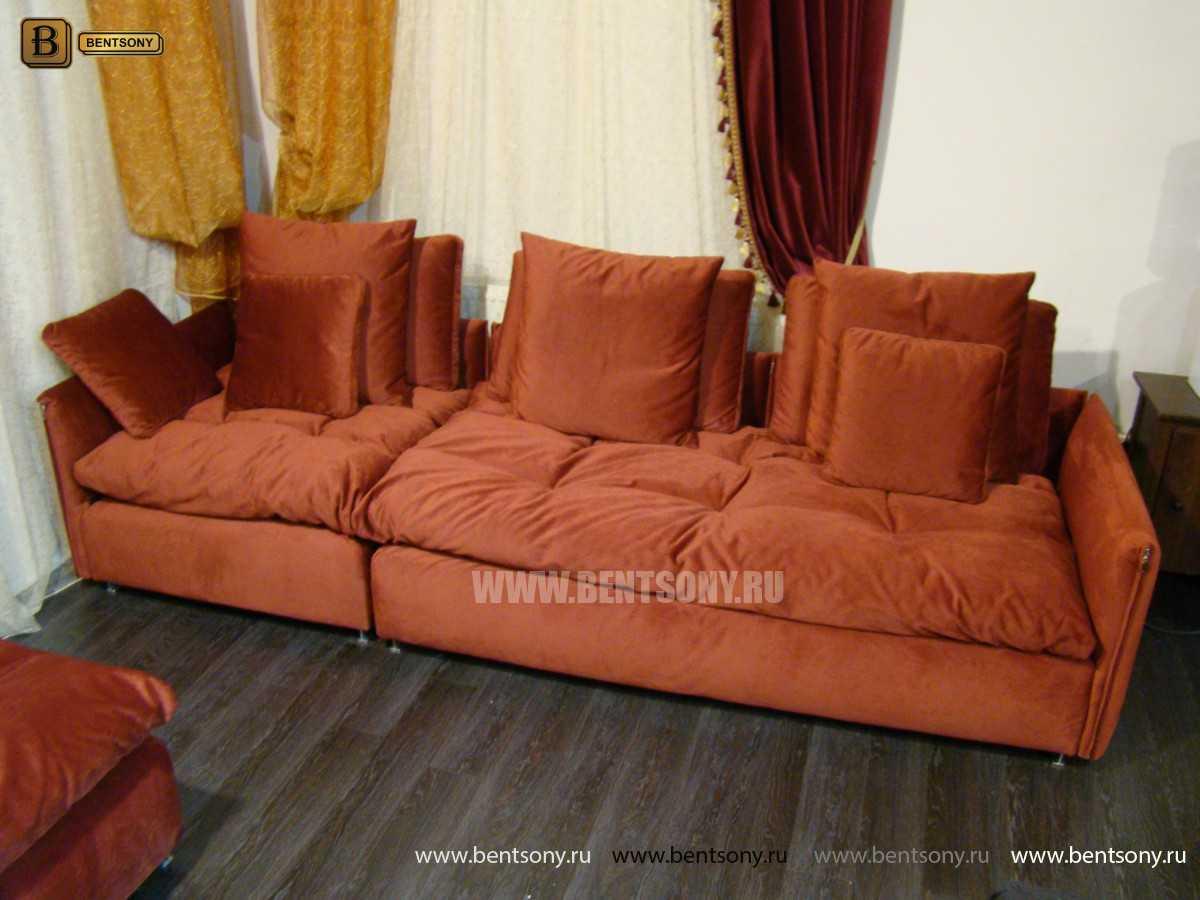 красный диван Арлетто с подушками