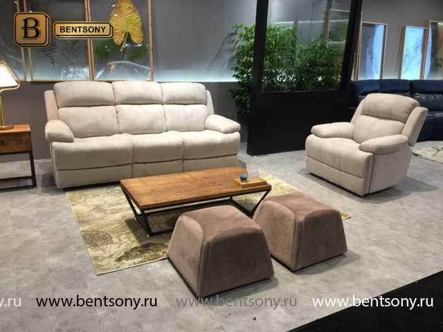 белый диван для гостинной реклайнерами