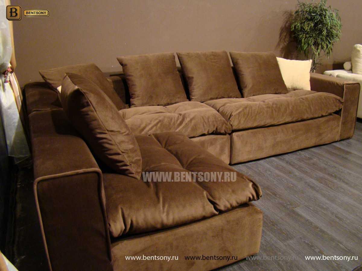 угловой тканевый диван Бениамино коричневый