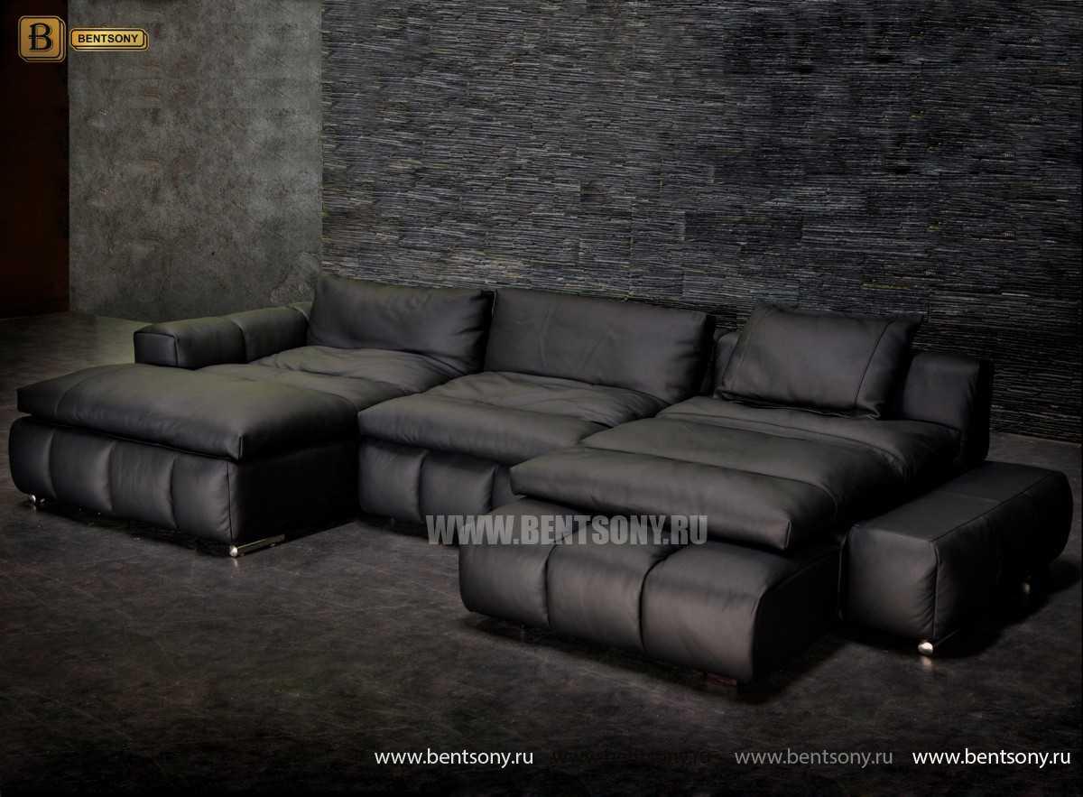 купить кожаный диван Марчело черный