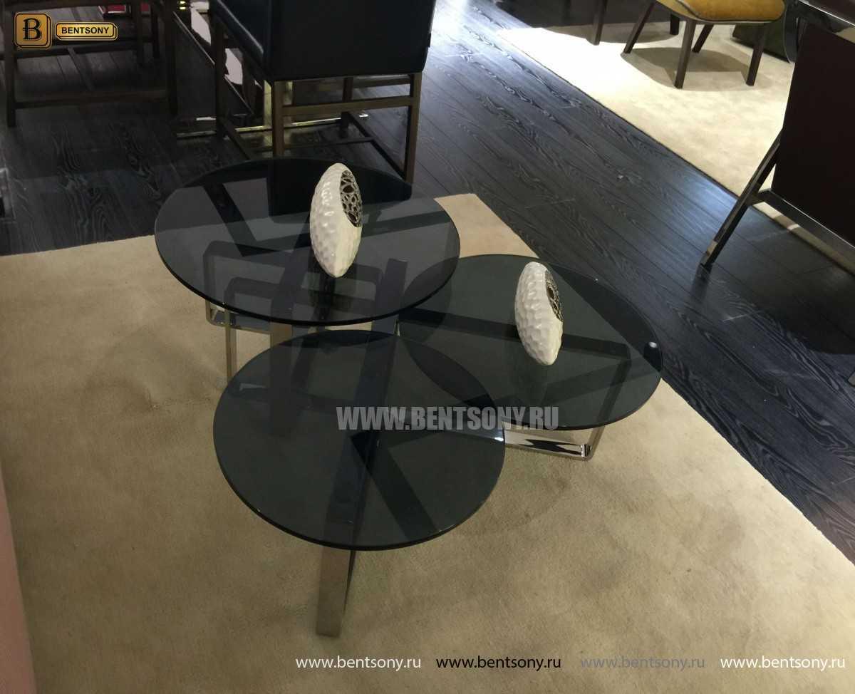 Стол Журнальный Приставной (Круглый, тонированное стекло) каталог мебели с ценами