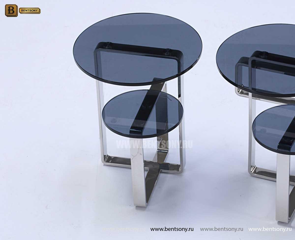 Стол Журнальный Приставной (Круглый, тонированное стекло) каталог мебели