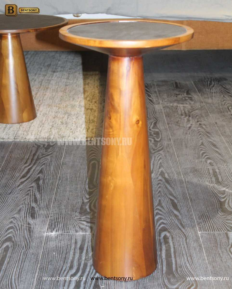 Деревянный приставной стол (Стеклянная столешница)