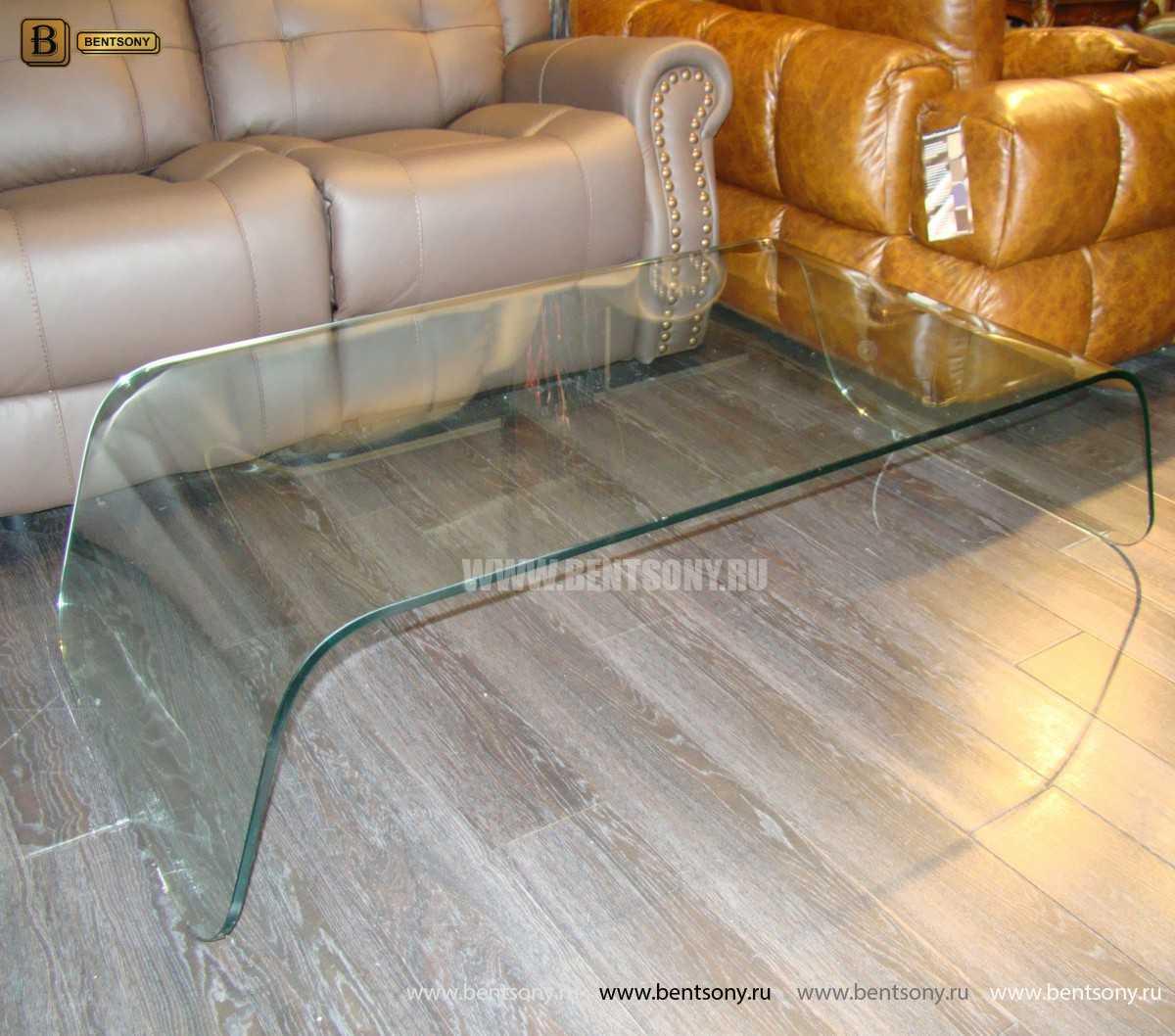 Стол Журнальный (Гнутое прозрачное стекло) для квартиры