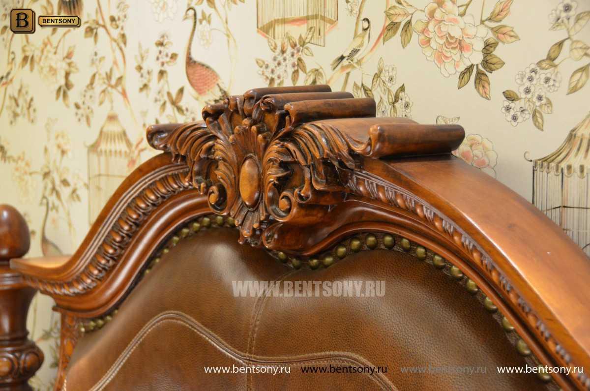 Кровать Монтана B (Классика, массив дерева, кожа) купить