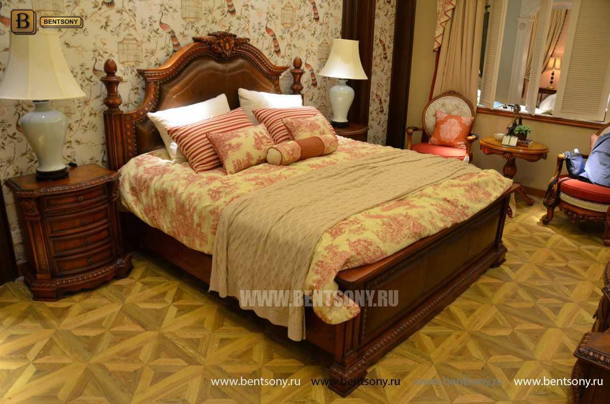 Кровать Монтана B (Классика, массив дерева, кожа) распродажа