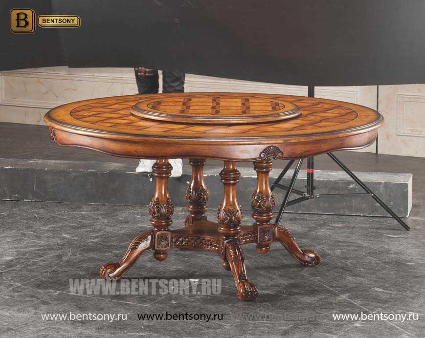 Стол обеденный круглый Феникс с сервировочной платформой (Классика, массив дерева)