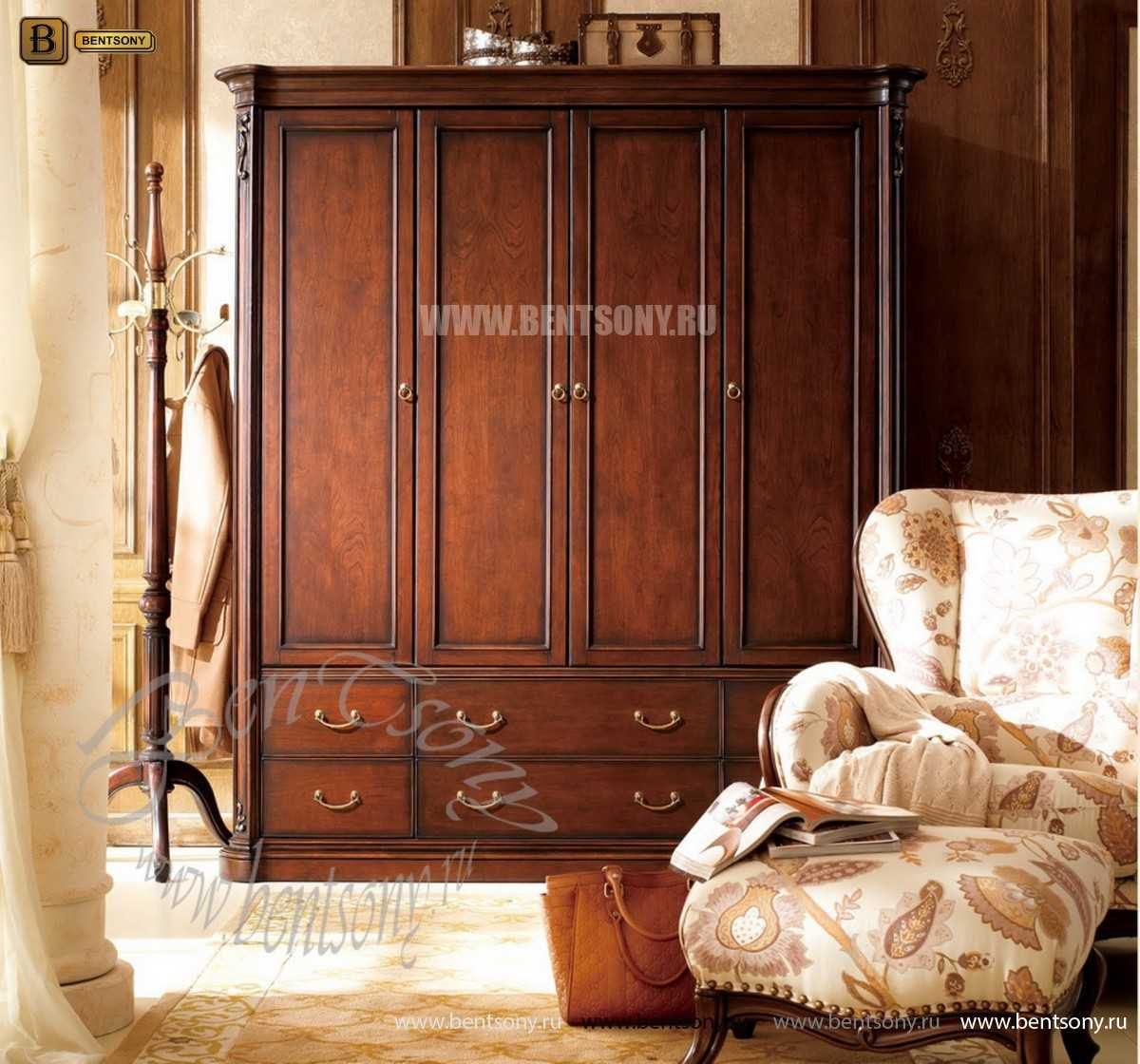 Шкаф 4-х дверный Крофорд (Массив дерева, Классика)