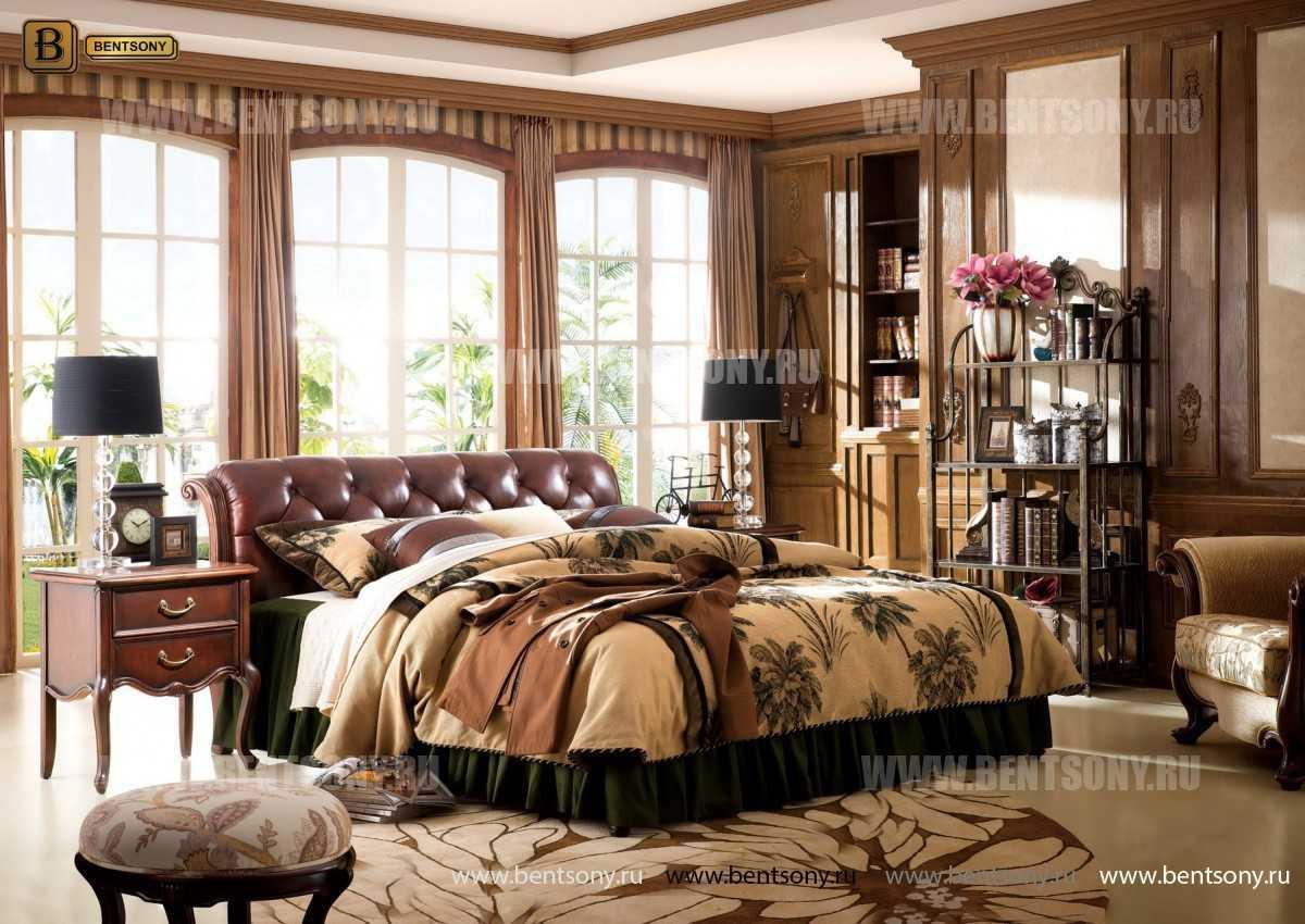 Спальня Крофорд D (Массив дерева, натуральная кожа) в интерьере