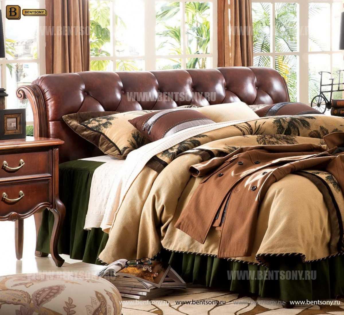 Спальня Крофорд D (Массив дерева, натуральная кожа) для квартиры
