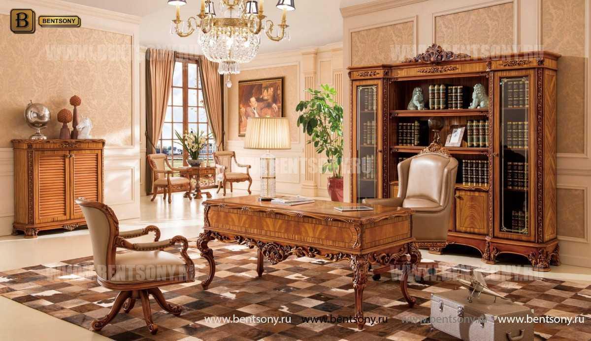 Кресло Белмонт вращающееся (Массив дерева, кожа, ткань) в Москве