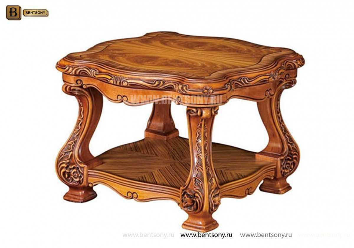 Стол журнальный Белмонт В прямоугольный с полкой (Массив дерева) каталог мебели с ценами