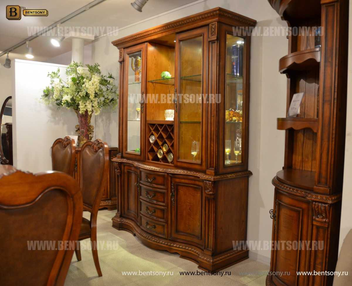 Барный шкаф 3-х дверный Монтана (Классика, массив дерева) для квартиры