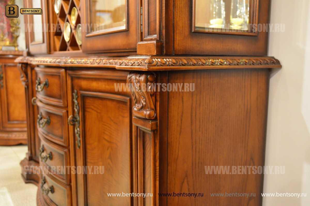 Барный шкаф 3-х дверный Монтана (Классика, массив дерева) для загородного дома