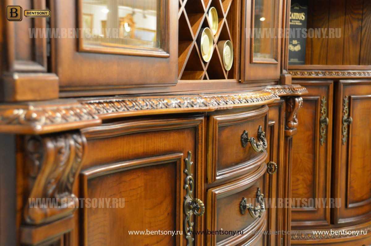 Барный шкаф 3-х дверный Монтана (Классика, массив дерева) купить в Москве