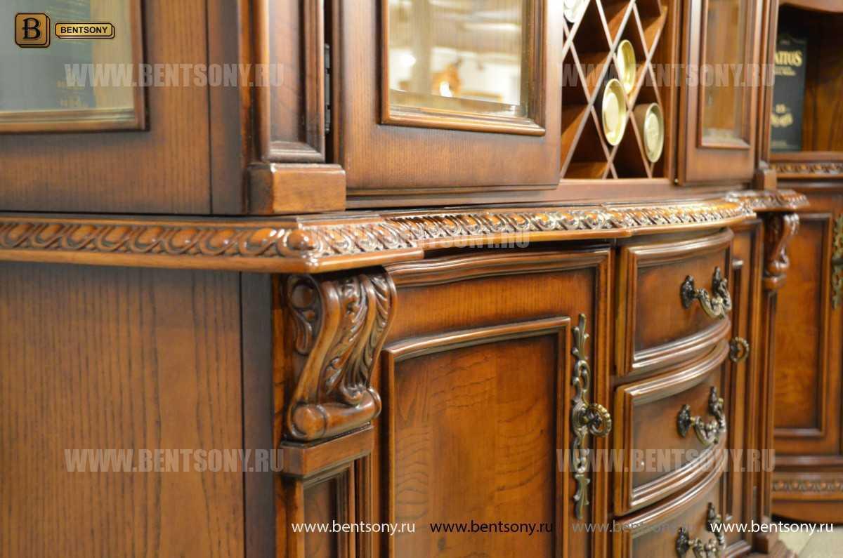 Барный шкаф 3-х дверный Монтана (Классика, массив дерева) каталог мебели с ценами