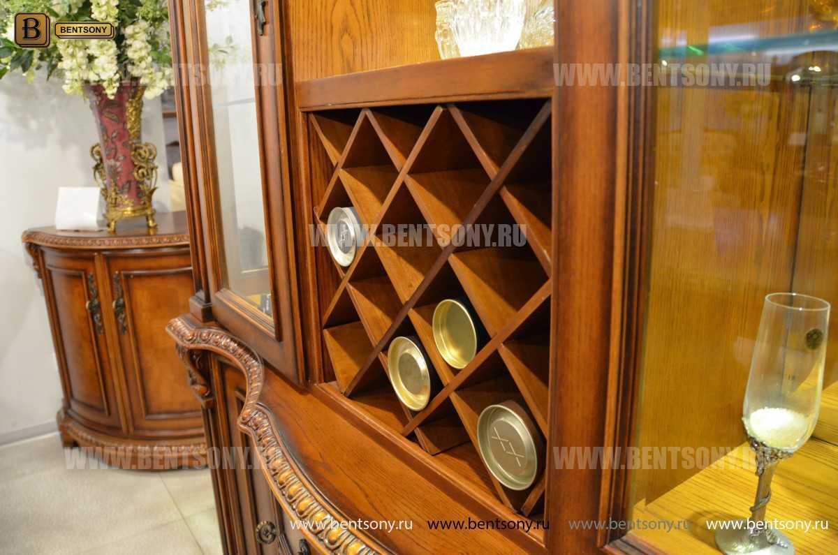 Барный шкаф 3-х дверный Монтана (Классика, массив дерева) купить в СПб