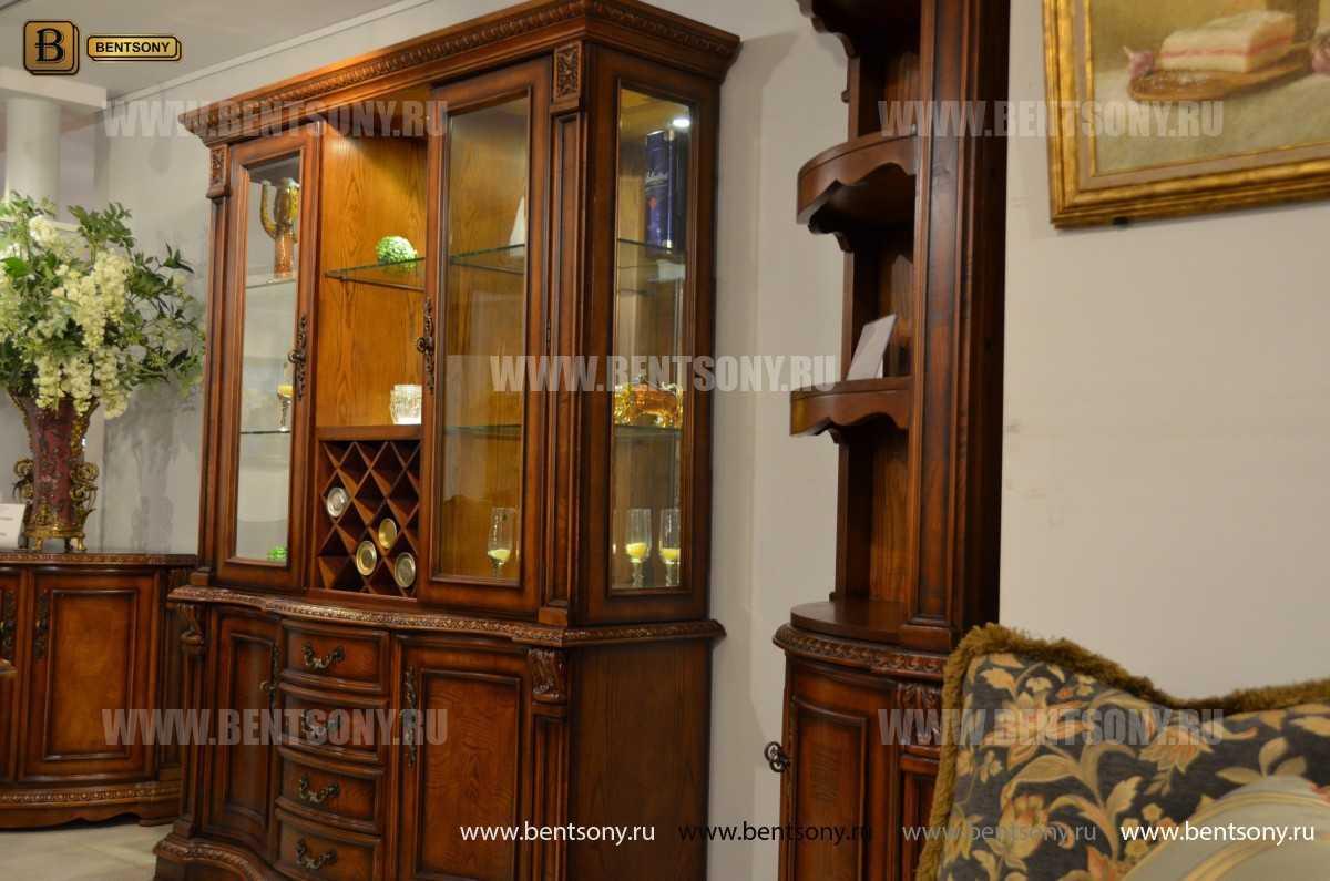 Барный шкаф 3-х дверный Монтана (Классика, массив дерева) в интерьере