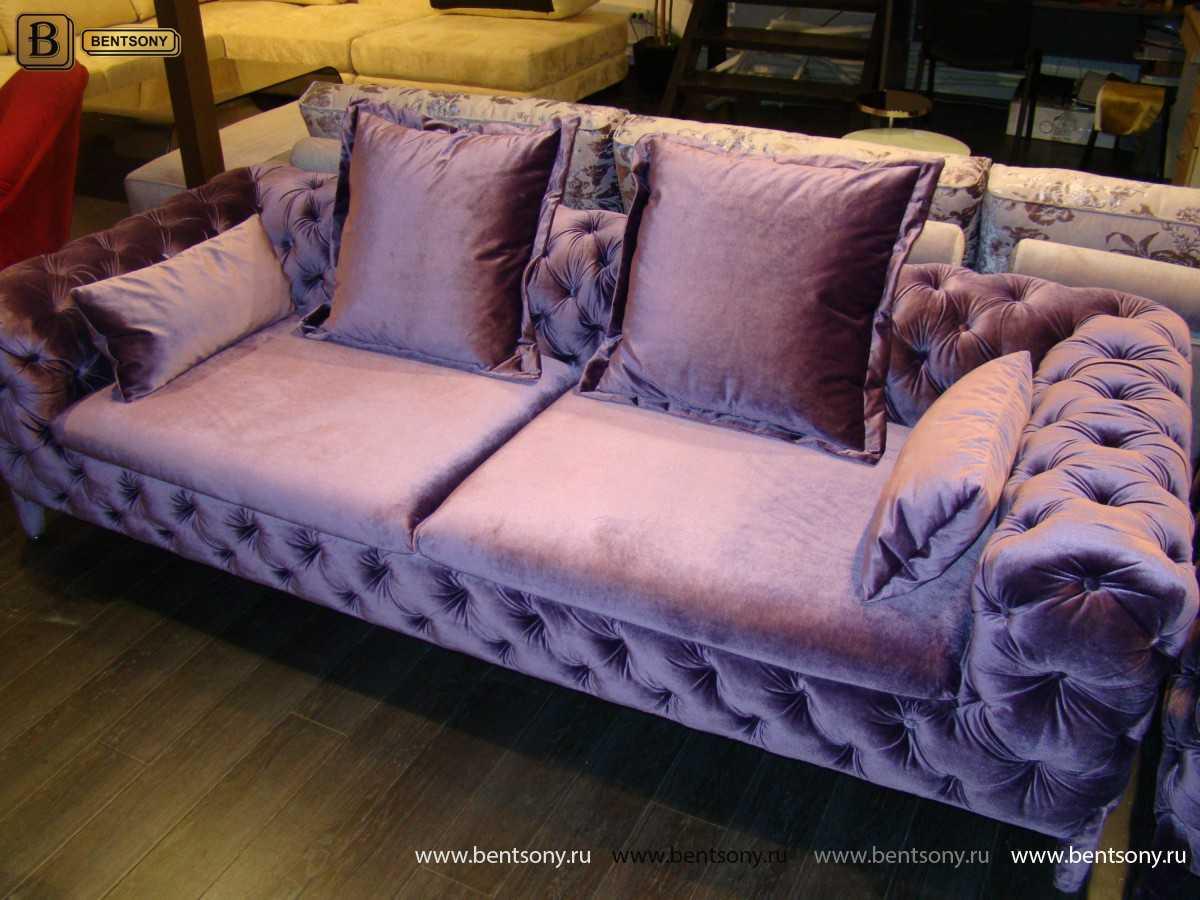 стильный диван Скиллачи фиолетовый велюр