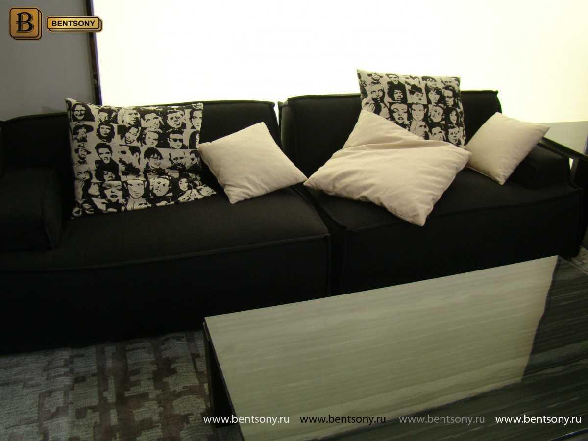 прямой стильный черный диван Галардо