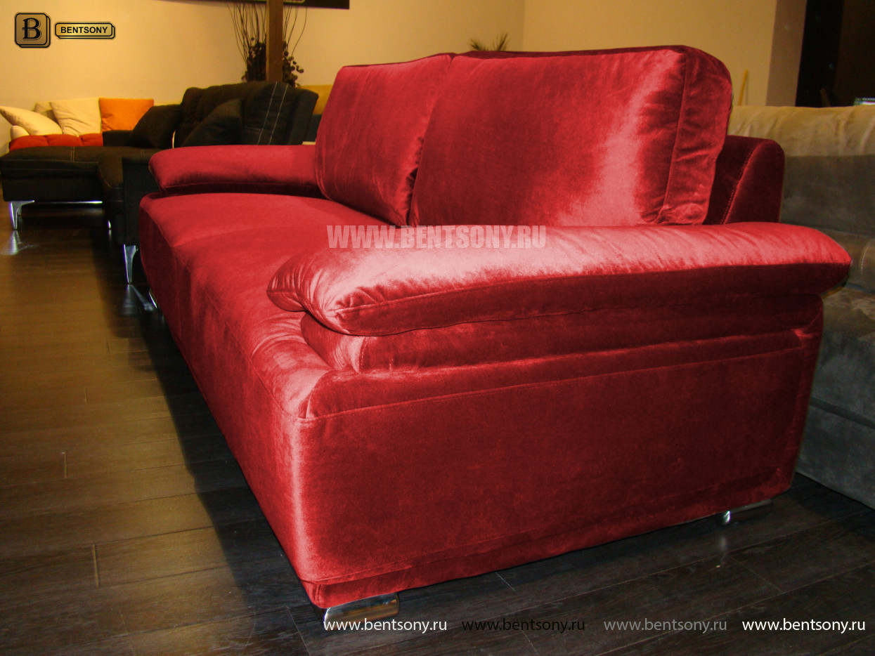 красный прямой диван обивка велюр