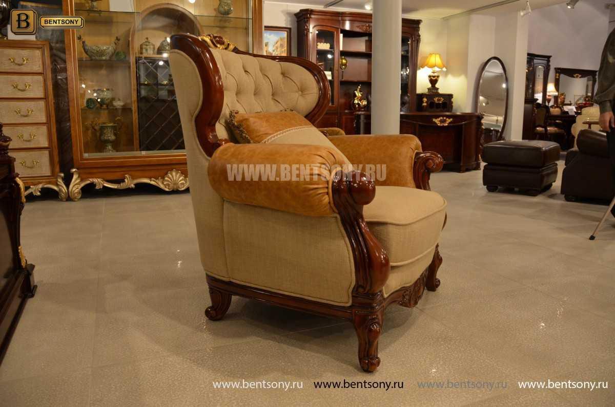Кресло Вагнер А классическое (Подлокотники кожа) для загородного дома