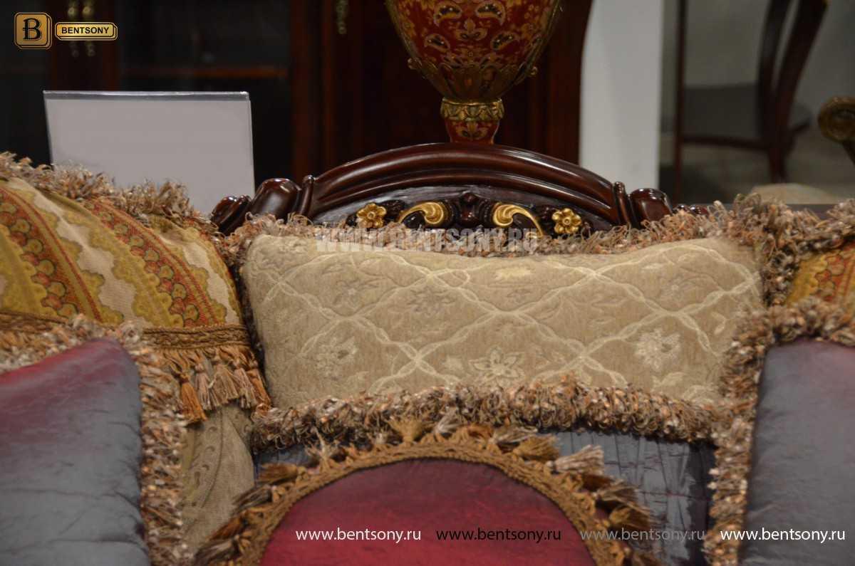 Диван Вагнер С (Классика, Ткань, подлокотники кожа) для загородного дома