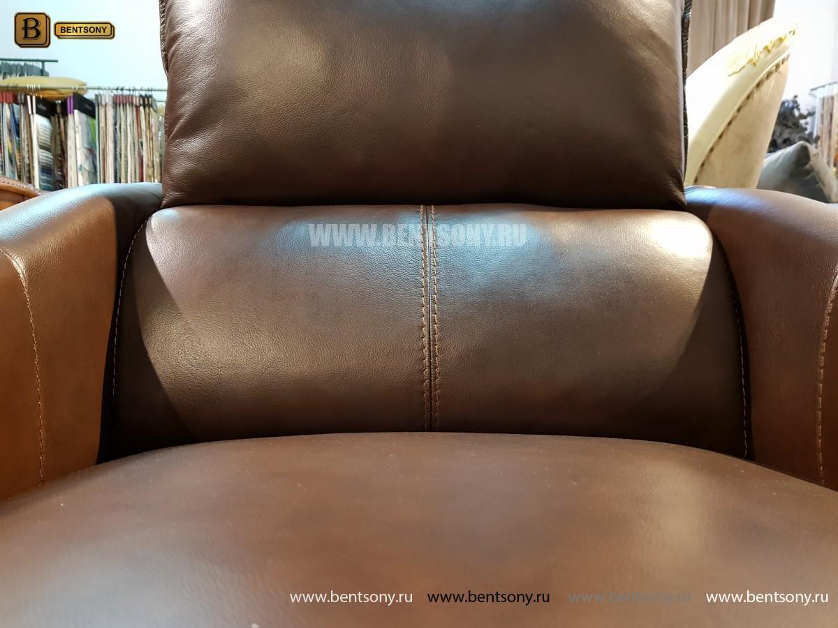 Кресло Порто цвет коричневый (Реклайнер, Натуральная кожа) для загородного дома