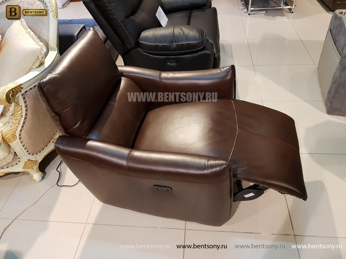 Кресло Порто цвет коричневый (Реклайнер, Натуральная кожа) каталог с ценами