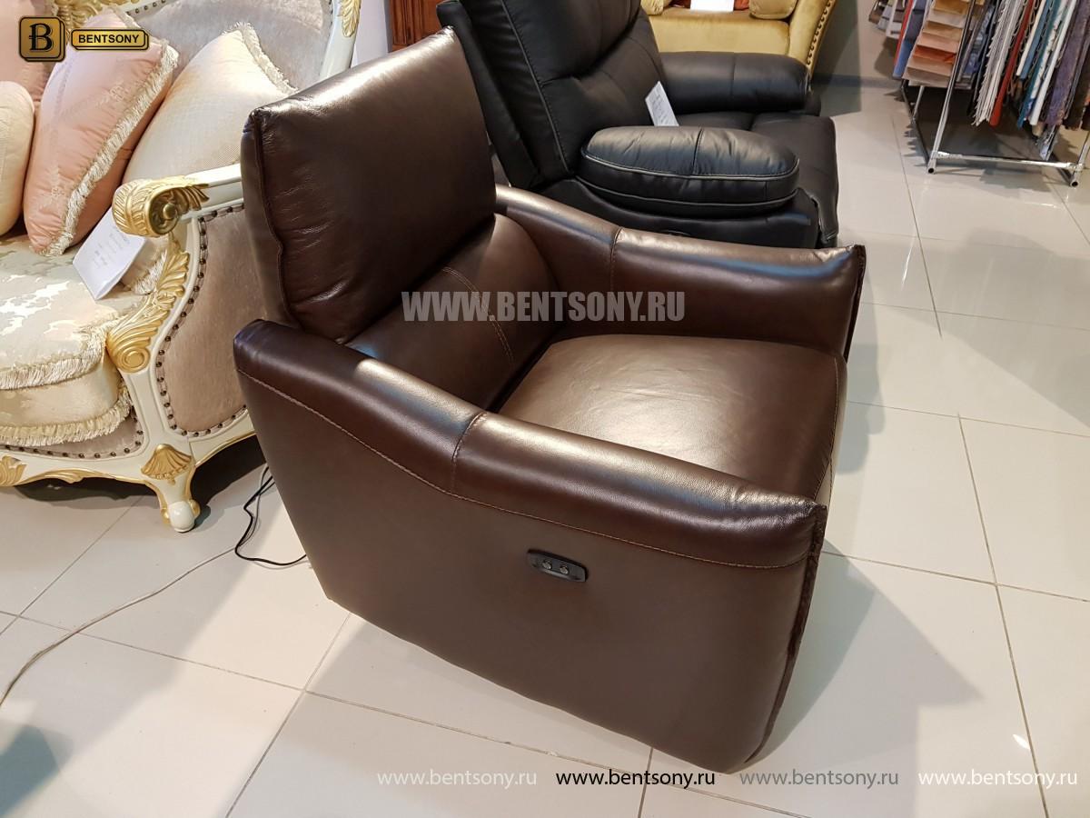 Кресло Порто цвет коричневый (Реклайнер, Натуральная кожа) купить в Москве